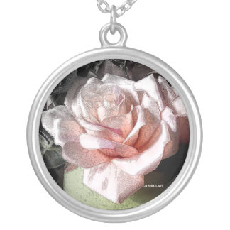 PINK ROSE by CR SINCLAIR Round Pendant Necklace