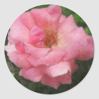 Pink Rose by the Cuautitlan Cathedral - Watercolor Classic Round Sticker