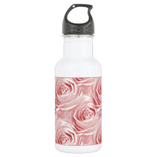 Pink Rose Center Wallpaper Pattern Stainless Steel Water Bottle