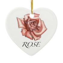 Pink Rose Ceramic Ornament