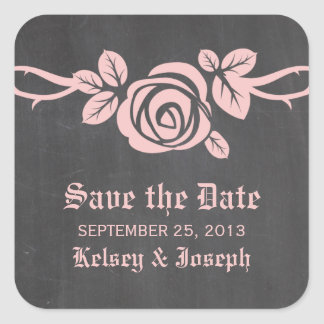 Pink Rose Chalkboard Save the Date Stickers