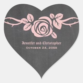 Pink Rose Chalkboard Wedding Stickers