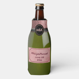 Pink Rosé Champagne Bottle Wedding Hashtag Cooler