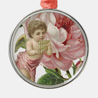 Pink Rose Cherub Harp Metal Ornament