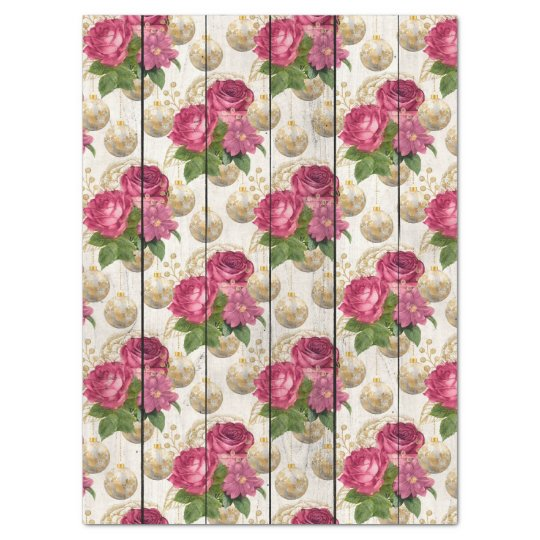 Pink Rose Christmas Ornaments on Wood Decoupage Tissue Paper