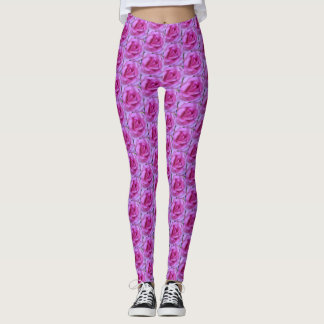 Pink rose close-up photography leggings
