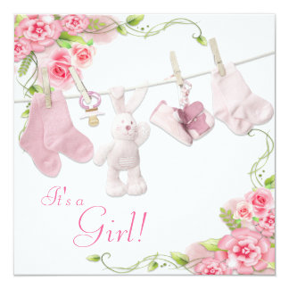 """Pink Rose Clothesline Baby Girl Shower Invitations 5.25"""" Square Invitation Card"""