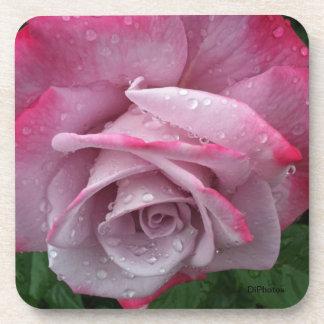 Pink Rose Cork Coaster