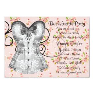 Pink Rose Corset Pink Black Bachelorette Party 5x7 Paper Invitation Card