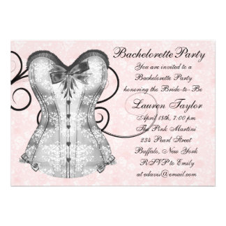 Pink Rose Corset Pink Black Bachelorette Party Custom Announcement