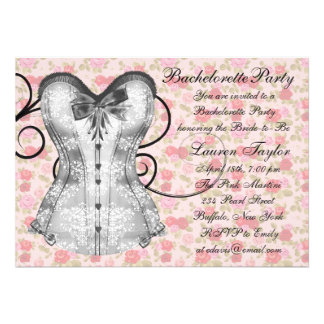 Pink Rose Corset Pink Black Bachelorette Party Custom Announcements