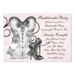 Pink Rose Corset Pink Martini Bachelorette Party 5x7 Paper Invitation Card