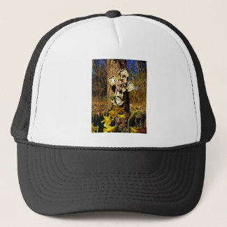 Pink rose cover cross with yellow daffodil trucker hat