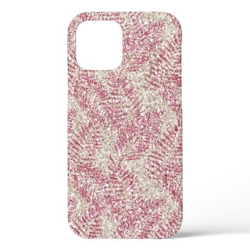 Pink Rose Cream Glitter Glitz Tropical Leaves      iPhone 12 Case