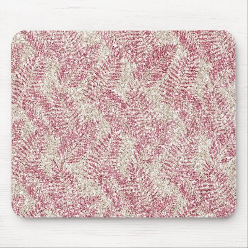 Pink Rose Cream Glitter Glitz Tropical Leaves      Mouse Pad