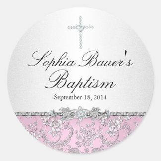 Pink Rose & Cross Baptism Sticker