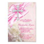 Pink Rose Cross First Communion 3.5x5 Paper Invitation Card