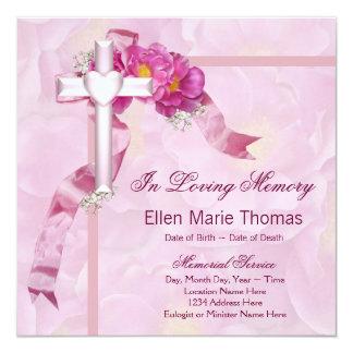 Pink Rose Cross In Loving Memory Memorial Card