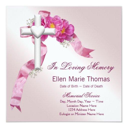 Pink Rose Cross In Loving Memory Memorial Invitation