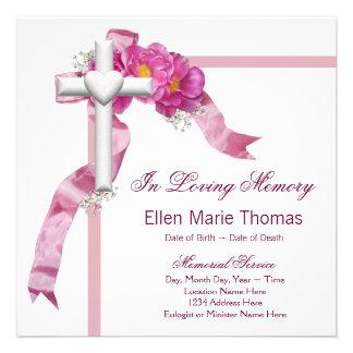Pink Rose Cross In Loving Memory Memorial Invites