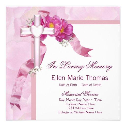 Pink rose cross in loving memory memorial 525x525 square paper invitation card zazzle for In loving memory template free