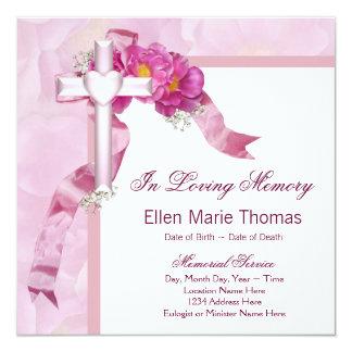 Pink Rose Cross In Loving Memory Memorial Personalized Invite