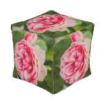 Pink rose cube pouf