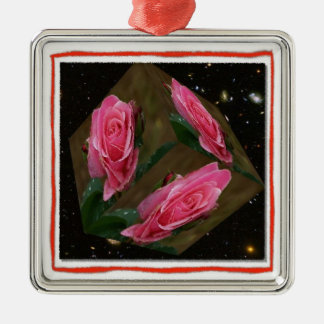 Pink Rose Cubed Space Ornament