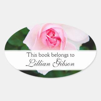 Pink rose custom floral bookplates ex libris book