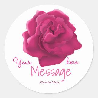 Pink rose custom text sticker