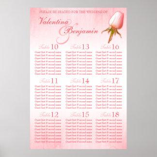 Pink Rose Custom Wedding Seating Table Plan 10-18 Poster
