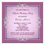 Pink Rose Damask 50th Birthday Party Invitation