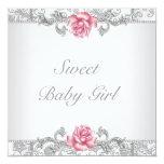 Pink Rose Damask Baby Girl Shower Custom Invitation