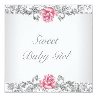 Pink Rose Damask Baby Girl Shower 5.25x5.25 Square Paper Invitation Card