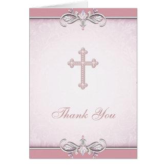 Pink Rose Damask Cross Christian Thank You Card