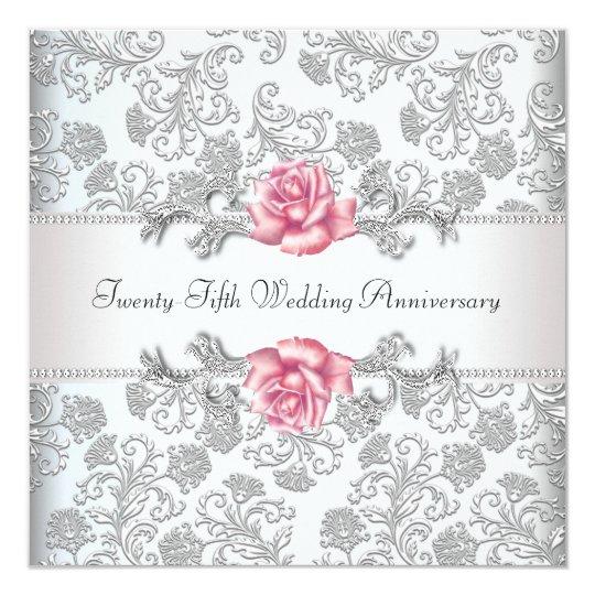 Pink Rose Damask Silver 25th Wedding Anniversary Card Zazzlecom