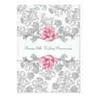 Pink Rose Damask Silver 25th Wedding Anniversary Card
