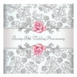 Pink Rose Damask Silver 25th Wedding Anniversary Custom Invite