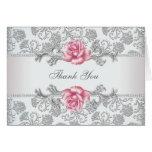 Pink Rose Damask Thank You Card