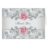 Pink Rose Damask Thank You Stationery Note Card