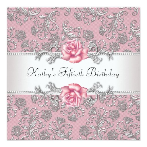 Pink Rose Damask Womans 50th Birthday Party Custom Invites