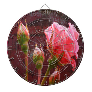 Pink Rose Dartboard With Darts