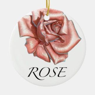 Pink Rose Double-Sided Ceramic Round Christmas Ornament