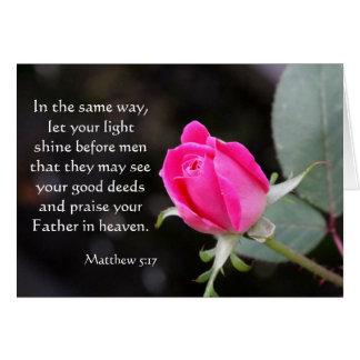 Pink Rose Easter Card w Bible Verse (Matthew 5:17)