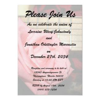 pink rose electric guitar fretboard neck music 5x7 paper invitation card