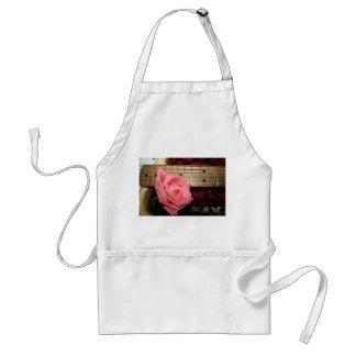 pink rose electric guitar fretboard neck music apron