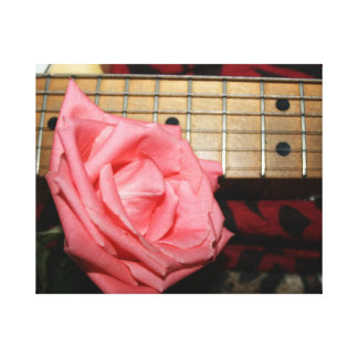 pink rose electric guitar fretboard neck music gallery wrapped canvas