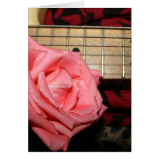 pink rose electric guitar fretboard neck music card