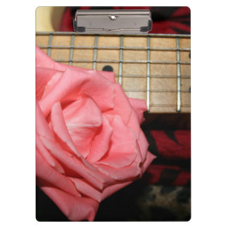 pink rose electric guitar fretboard neck music clipboards