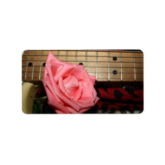 pink rose electric guitar fretboard neck music personalized address label